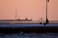 Evening on the frosty pier of Trieste Stock Image