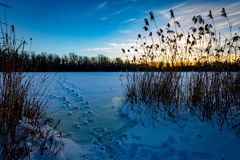 Evening on frozen lake Stock Photo
