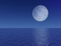 Evening Full Moon Over Sea Stock Photos