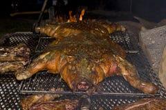 Full Pig Roast. A full pig roast at night stock photos