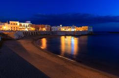 Evening Gallipoli Castle, Puglia,  Italy. Evening dusk in Gallipoli, province of Lecce, Puglia, southern Italy.  View from walls of Angevine-Aragonese medieval Royalty Free Stock Images