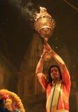 Evening Ganga Aarti in Varanasi Stock Photo