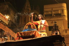Evening Ganga Aarti in Varanasi. A group of priests daily in the evening at this Dashashwamedh ghat perform Agni Pooja (Worship to Fire) wherein a dedication is Stock Photo
