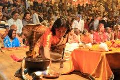 Evening Ganga Aarti in Varanasi Stock Image