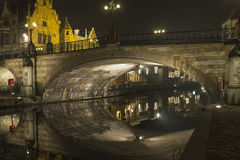 Evening in Ghent. Evneing on the banks of Graslei, the medieval section of Ghent in Belgium royalty free stock images