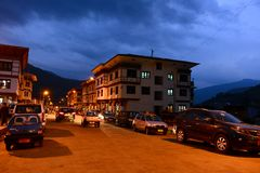 Evening Glory. The most beautiful of all Bhutan's valleys, Paro is yet another example of unmanned beauty of Bhutan. With the only airport of Bhutan, Paro is the Stock Photo