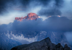 Evening Glow over Mt. Pelmo and Mt. Civetta, Dolomites, Italy Stock Photography