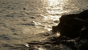 Evening, golden reflections in water, Lake Como, Italy. stock video footage
