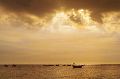 In the evening the golden sea Royalty Free Stock Images