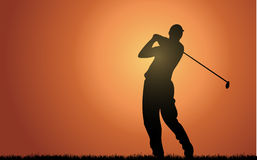 Evening golfer. Illustration of a golfer in the sunset Royalty Free Stock Photography