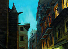 Evening in gothic quarter of barcelona, painting Royalty Free Stock Images