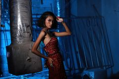 Evening Gown Ball Dress in Asian beautiful woman with fashion ma royalty free stock image
