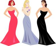 Evening gowns and makeup for women Royalty Free Stock Image