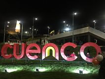 Colorful Cuenca Sign at Parque de la Luz, Ecuador royalty free stock photos