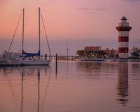 Evening at the Harbortown Lighthouse royalty free stock photos