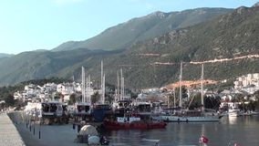 Evening harbour of Kas stock footage