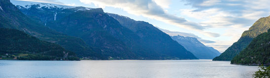 Evening Hardangerfjord panorama. Royalty Free Stock Photography