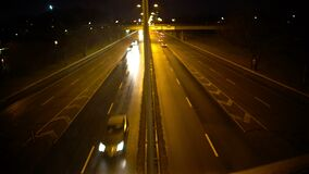 Evening highway with moving cars, view from bridge, city life, transportation stock video footage