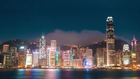Evening at the Hong Kong and the Light Show. Time Lapse 4K stock video