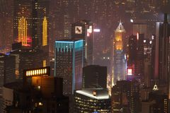 Evening Hong Kong from the observation deck royalty free stock photos