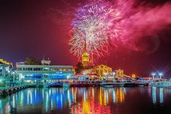 RUSSIA, SOCHI - NOVEMBER 18, 2017: Salute in honor of the celebration of the City of Sochi, Russia, on November 18, 2017. Royalty Free Stock Image
