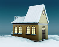 Evening house with glowing windows and snow on the roof. 3d illustration Stock Photo
