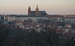 Evening Hradcany and Prague Castle panorama Royalty Free Stock Photography