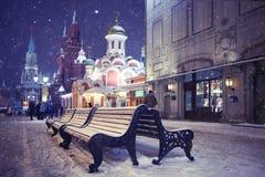 Evening сhristmas city Stock Photos