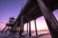 An evening in Huntington Beach, CA stock photo