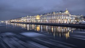 Evening ice drift on Neva river in Saint-Petersburg royalty free stock photo