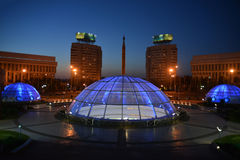 Evening illumination of Almaty. & x28;Kazakhstan& x29 Royalty Free Stock Images