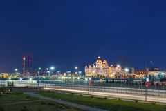 Evening illumination entertainment Sochi Park, hotel Royalty Free Stock Image