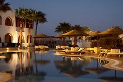 Evening illumination in tropical hotel Stock Photo