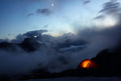 Evening In Mountains And Moon In The Sky Stock Images