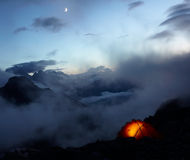 Evening In Mountains And Moon In The Sky Royalty Free Stock Photography