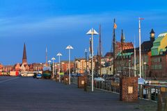 Evening In The City Port Of Rostock, Germany Stock Photo