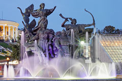 Evening independence square  , Kiev Stock Image