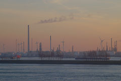 Evening Industry. Harbor Petrochemical industry around sunset time stock images