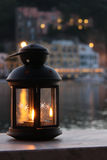 Evening in Ischia. Lonely candle at sunset in Ischia Royalty Free Stock Photography