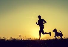 Evening jogging with beagle pet Stock Photos