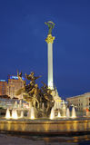 Evening Kiev-City. Evening independence square (Kiev centre, Ukraine) with monument to City-founders Stock Photos