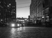 Evening Kiev. Kiev Ukraine building sunset black and white royalty free stock photography