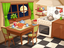Evening kitchen interior. Vector illustration. Stock Photos