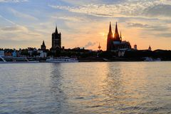 Cologne Dome at Sunset Royalty Free Stock Photography