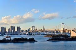 Evening krajobraz tęcza most. Fotografia Stock