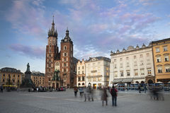 Evening at Krakow main square Royalty Free Stock Photography