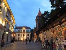 Evening in Krakow street Stock Photography
