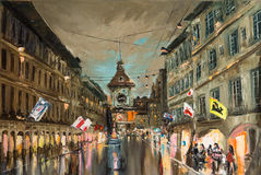 Evening on Kramgasse stock illustration