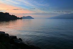 Evening on the lake. Colorful evening on the lake in swiss Alps stock images