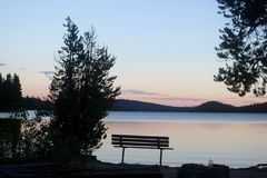Evening at lake. 2016 Lake Cascade, McCall Royalty Free Stock Photography